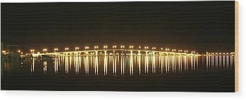 Jensen Causeway At Night Wood Print