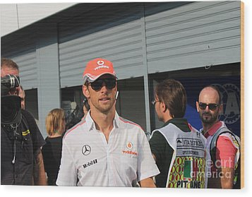 Jenson Button Wood Print by David Grant