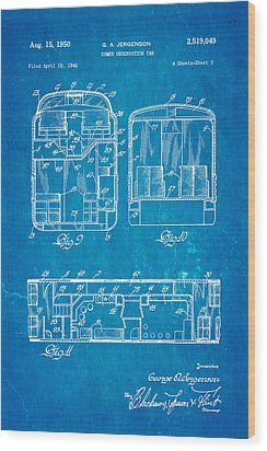 Jergenson Domed Observation Car Patent Art 1950 Blueprint Wood Print by Ian Monk