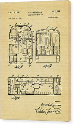 Jergenson Domed Observation Car Patent Art 1950 Wood Print by Ian Monk