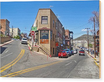 Jerome Arizona - Flatiron Cafe - 01 Wood Print by Gregory Dyer