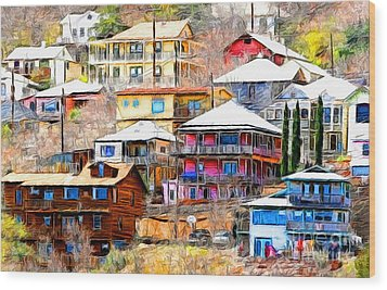 Jerome Arizona Hillside Houses Wood Print