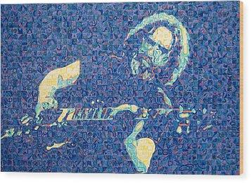 Jerry Garcia Chuck Close Style Wood Print by Joshua Morton