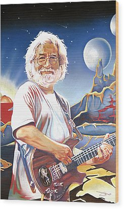 Jerry Garcia Live At The Mars Hotel Wood Print by Joshua Morton