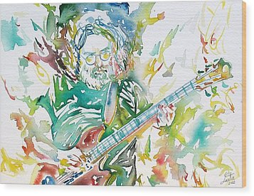 Jerry Garcia Playing The Guitar Watercolor Portrait.1 Wood Print by Fabrizio Cassetta