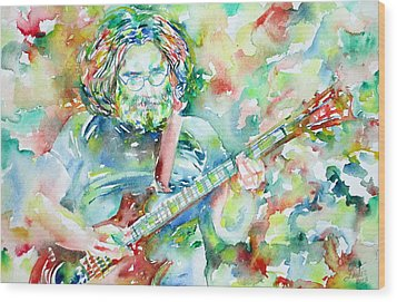 Jerry Garcia Playing The Guitar Watercolor Portrait.3 Wood Print by Fabrizio Cassetta