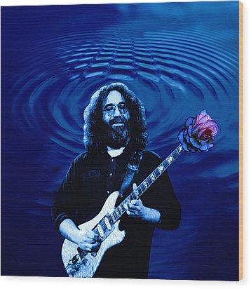 Blue Ripple Rose Wood Print