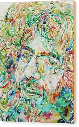 Jerry Garcia Watercolor Portrait.1 Wood Print
