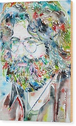 Jerry Garcia Watercolor Portrait.2 Wood Print