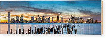 Jersey City Panorama At Sunset Wood Print