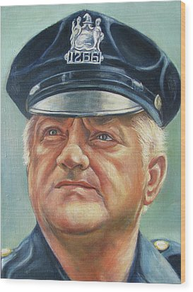 Wood Print featuring the painting Jersey City Policeman by Melinda Saminski