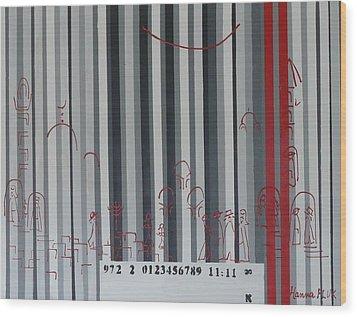 Jerusalem Black And Withe Barcode Wood Print by Hanna Fluk