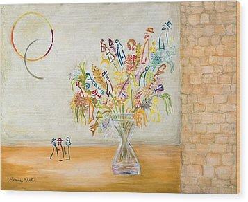 Jerusalem Flowers Wood Print by Hanna Fluk