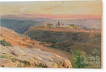 Jerusalem From The Mount Of Olives Wood Print by Edward Lear