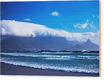 Jesse - Redbull King Of The Air Cape Town - Table Mountain  Wood Print by Charl Bruwer