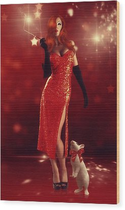 Jessica Rabbit Wood Print by Cindy Grundsten