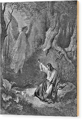 Jesus And Angel Bible Illustration Wood Print by