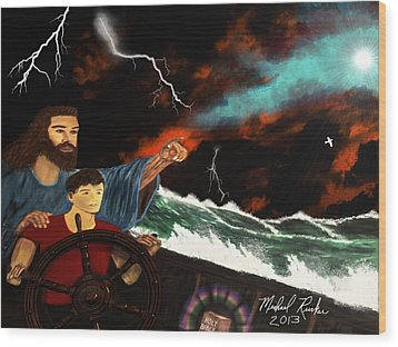 Wood Print featuring the painting Jesus And The Sailor by Michael Rucker
