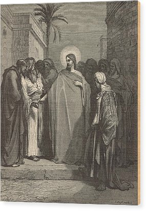 Jesus And The Tribute Money Wood Print by Antique Engravings