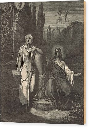 Jesus And The Woman Of Samaria Wood Print by Antique Engravings