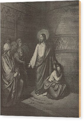 Jesus And The Woman Taken Into Adultery Wood Print by Antique Engravings