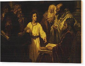 Jesus At Temple Wood Print