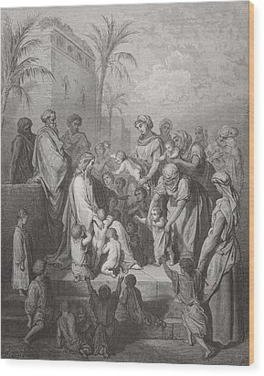 Jesus Blessing The Children Wood Print by Gustave Dore