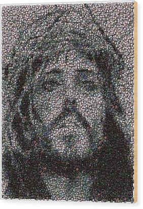 Jesus Bottle Cap Mosaic Wood Print by Paul Van Scott