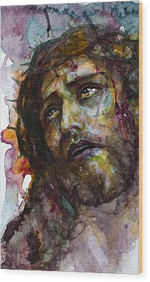 Wood Print featuring the painting Jesus Christ by Laur Iduc
