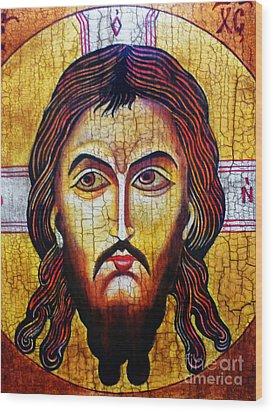Jesus Christ Mandylion Wood Print by Ryszard Sleczka