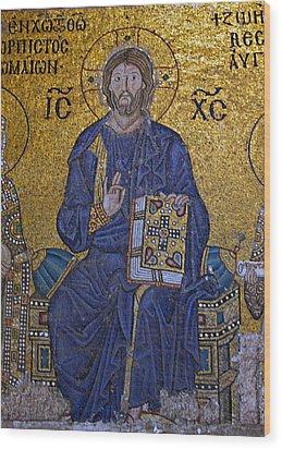 Jesus Christ Mosaic Wood Print by Stephen Stookey