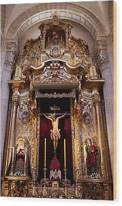 Jesus Christ On The Cross Reredos In Seville Cathedral Wood Print by Artur Bogacki