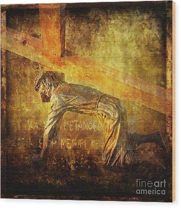 Jesus Falls Again Via Dolorosa 7 Wood Print by Lianne Schneider