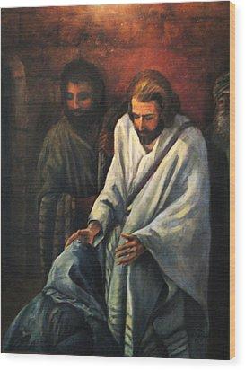 Jesus Healing Beggar Wood Print by Donna Tucker