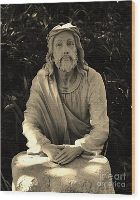 Jesus In The Garden Wood Print by Bob Sample
