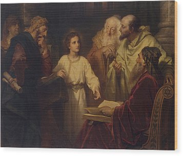 Jesus In The Temple Wood Print