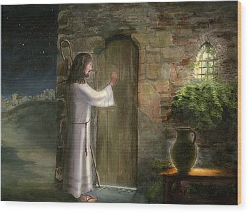 Jesus Knocking At The Door Wood Print by Cecilia Brendel