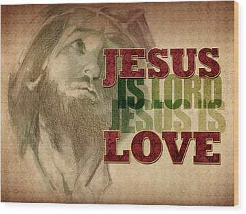 Jesus Love Wood Print by Michele Engling