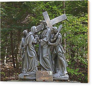 Jesus Meets His Mother Wood Print