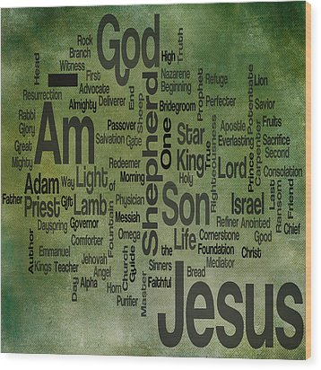 Jesus Name 1 Wood Print by Angelina Vick