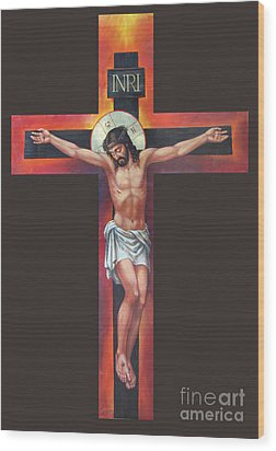 Jesus On The Cross Wood Print by Zorina Baldescu