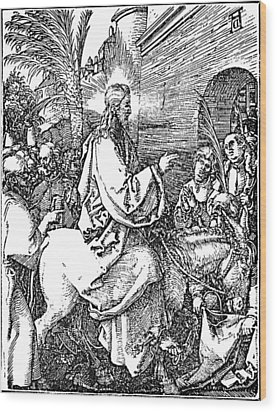 Jesus On The Donkey Palm Sunday Etching Wood Print by
