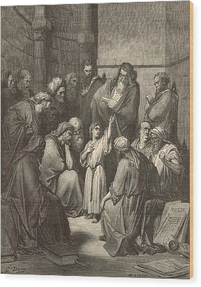 Jesus Questioning The Doctors Wood Print by Antique Engravings