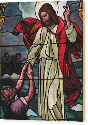 Jesus Rescues Peter From The Sea Wood Print by Kim Bemis