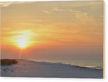 Jesus Rising On Easter Morning On Navarre Beach Wood Print by Jeff at JSJ Photography