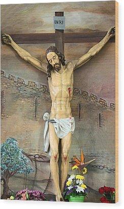 Jesus Statue At Latin Church In Taybeh Wood Print by Munir Alawi