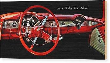 Jesus Take The Wheel Wood Print