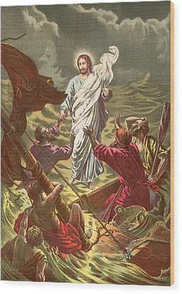 Jesus Walking On The Water Wood Print by Anonymous
