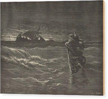 Jesus Walking On The Water Wood Print by Antique Engravings