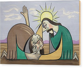 Jesus Will Meet You Where You Are Wood Print by Anthony Falbo